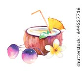 watercolor summer cocktail.... | Shutterstock . vector #644327716