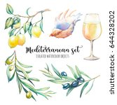 watercolor mediterranean set.... | Shutterstock . vector #644328202