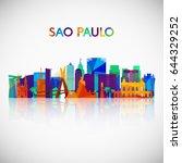 sao paulo skyline silhouette in ... | Shutterstock .eps vector #644329252