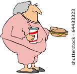 woman with a cheeseburger and... | Shutterstock . vector #64433323