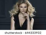 sensual beautiful blonde woman... | Shutterstock . vector #644333932
