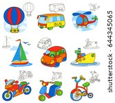 set of various transport... | Shutterstock .eps vector #644345065