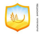 orange badge in form of a... | Shutterstock .eps vector #644349586