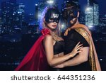 super hero couple over city | Shutterstock . vector #644351236