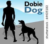 Stock vector an image of a man walking his doberman pinscher dog 64435183