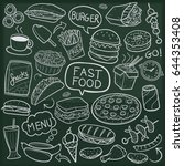 fast food doodle icon... | Shutterstock .eps vector #644353408