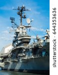 Small photo of Aircraft carrier control tower steel ship museum blue sky