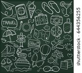 travel trip doodle icon... | Shutterstock .eps vector #644356255