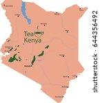 map  tea in kenya  | Shutterstock .eps vector #644356492