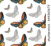 seamless pattern of watercolor... | Shutterstock . vector #644365675