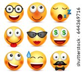 smiley set with 3d glasses... | Shutterstock .eps vector #644369716