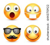 smiley smiling emoticon. yellow ... | Shutterstock .eps vector #644370922