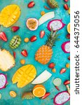 exotic fruits on a  the... | Shutterstock . vector #644375056