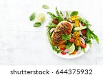 grilled chicken breast on... | Shutterstock . vector #644375932