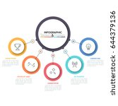 five multicolored circles... | Shutterstock .eps vector #644379136