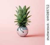 disco ball pineapple concept | Shutterstock . vector #644385712