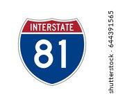 interstate highway 81 road sign | Shutterstock .eps vector #644391565