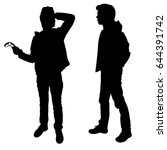 vector silhouette of two... | Shutterstock .eps vector #644391742