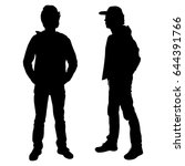 vector silhouette of two... | Shutterstock .eps vector #644391766