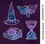 cool set with mystical symbols... | Shutterstock .eps vector #644393572