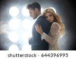 adorable blond woman hugging a... | Shutterstock . vector #644396995