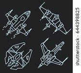 spaceship set in space outline  ... | Shutterstock .eps vector #644398825