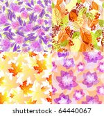 set of seamless floral patterns   Shutterstock .eps vector #64440067