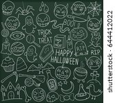 halloween party doodle icon...   Shutterstock .eps vector #644412022
