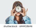 morning woman in big shirt... | Shutterstock . vector #644418646