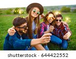 group of friends enjoying party.... | Shutterstock . vector #644422552