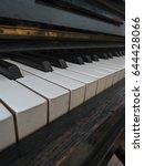 Small photo of Piano aka Pianoforte keyboard close up perspective