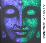 painting   face of buddha ... | Shutterstock . vector #644429572