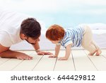 father playing with his little... | Shutterstock . vector #644429812