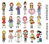 set of cute and characters... | Shutterstock .eps vector #644436352