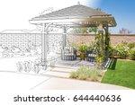 beautiful pergola patio cover... | Shutterstock . vector #644440636