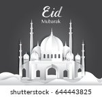 happy eid mubarak greetings... | Shutterstock .eps vector #644443825