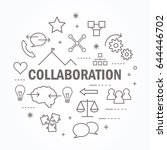 collaboration thin line icon... | Shutterstock .eps vector #644446702