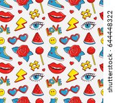 cute seamless pattern with... | Shutterstock .eps vector #644448322