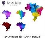 set of brazil maps polygon... | Shutterstock .eps vector #644450536