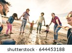 happy multiracial families... | Shutterstock . vector #644453188
