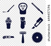 cutter icons set. set of 9... | Shutterstock .eps vector #644457196