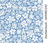 hibiscus flower pattern | Shutterstock .eps vector #644481142