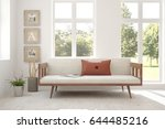 white room with sofa and green... | Shutterstock . vector #644485216