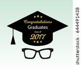 graduation poster. glasses and... | Shutterstock .eps vector #644491438