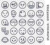 facial icons set. set of 25... | Shutterstock .eps vector #644493466