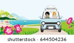 car driving in the seaside road ... | Shutterstock .eps vector #644504236