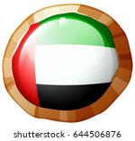 flag of arab emirates on round... | Shutterstock .eps vector #644506876