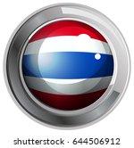flag of thailand on round badge ... | Shutterstock .eps vector #644506912