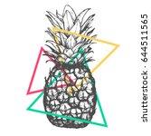 vector hand drawn pineapple on... | Shutterstock .eps vector #644511565