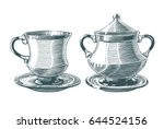 hand drawn tea cup and sugar...   Shutterstock .eps vector #644524156